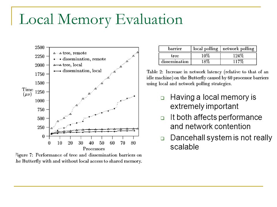  Having a local memory is extremely important  It both affects performance and network contention  Dancehall system is not really scalable