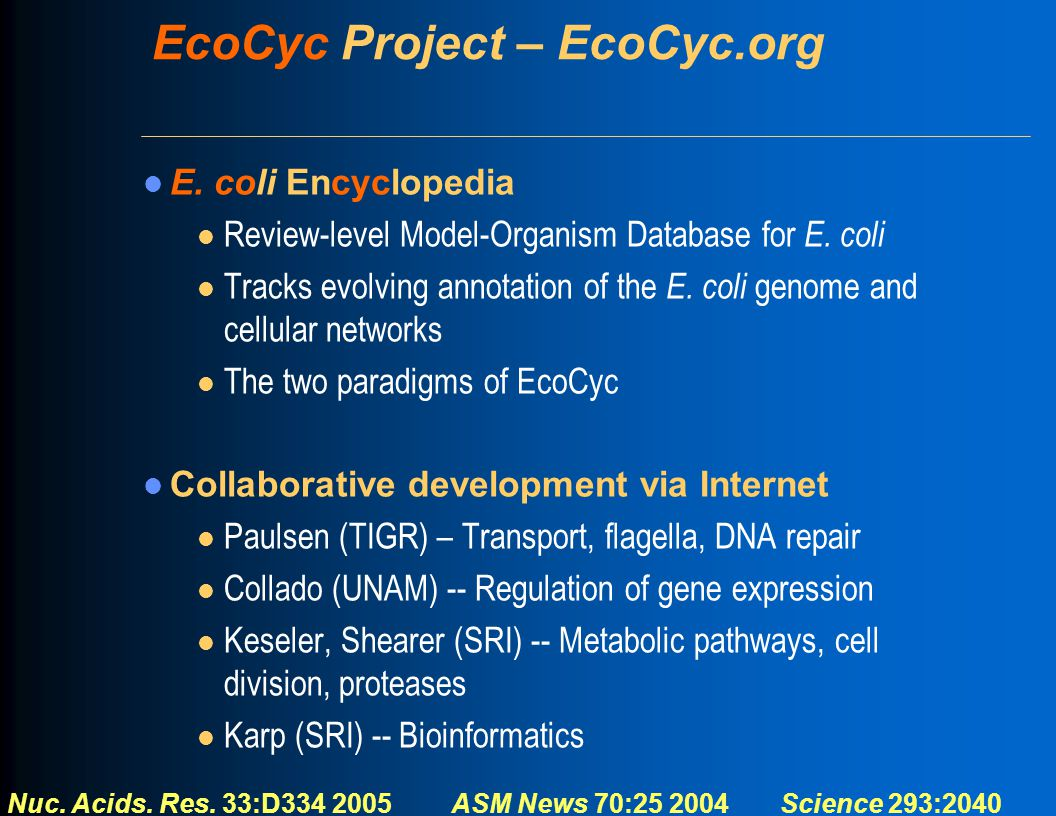 EcoCyc Project – EcoCyc.org E. coli Encyclopedia l Review-level Model-Organism Database for E. coli l Tracks evolving annotation of the E. coli genome