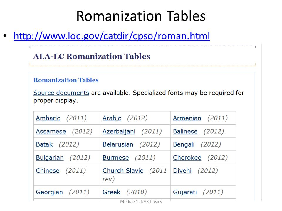 http://www.loc.gov/catdir/cpso/roman.html 18 Romanization Tables Module 1. NAR Basics