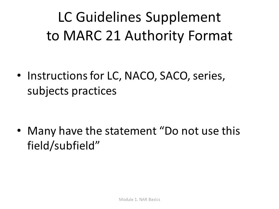MARC Authority Structure: Quiz = authorized access point for a person = variant access point for a corporate body = link to a related meeting (etc.) = variant access point (lacking an explicit creator) for a work or expression = authorized access point for a geographic entity Module 1.