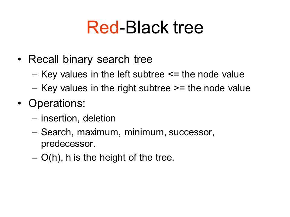 Red-Black tree Recall binary search tree –Key values in the left subtree <= the node value –Key values in the right subtree >= the node value Operations: –insertion, deletion –Search, maximum, minimum, successor, predecessor.