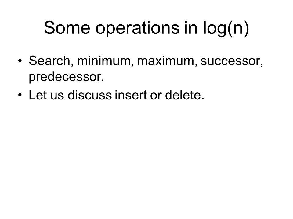 Some operations in log(n) Search, minimum, maximum, successor, predecessor.