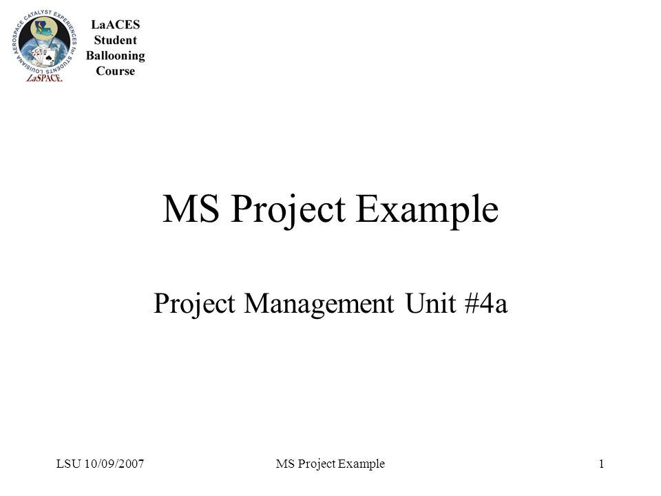 LSU 10/09/2007MS Project Example1 Project Management Unit #4a