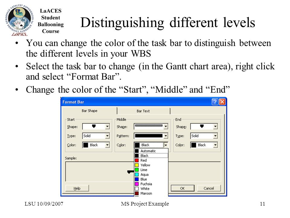 LSU 10/09/2007MS Project Example11 Distinguishing different levels You can change the color of the task bar to distinguish between the different level