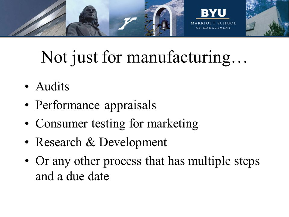 Not just for manufacturing… Audits Performance appraisals Consumer testing for marketing Research & Development Or any other process that has multiple steps and a due date