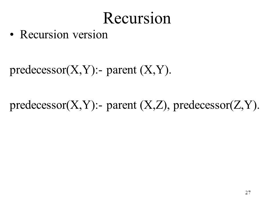 Recursion Recursion version predecessor(X,Y):- parent (X,Y).