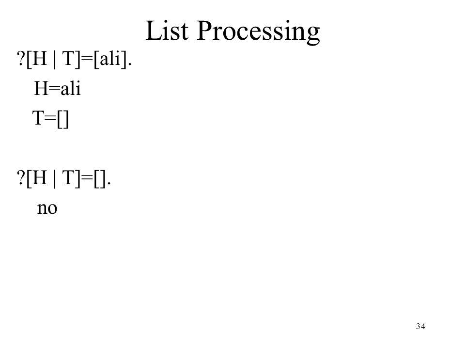 List Processing [H | T]=[ali]. H=ali T=[] [H | T]=[]. no 34