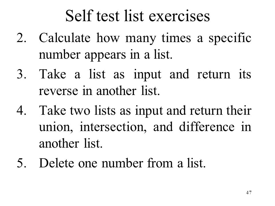 Self test list exercises 2.Calculate how many times a specific number appears in a list.