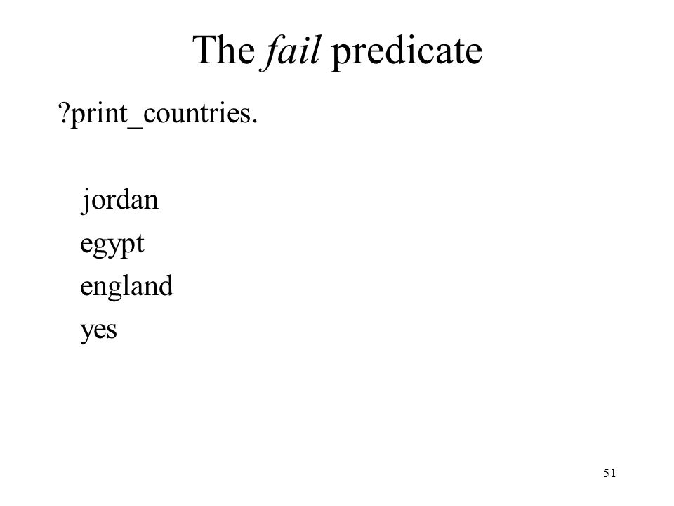 The fail predicate print_countries. jordan egypt england yes 51
