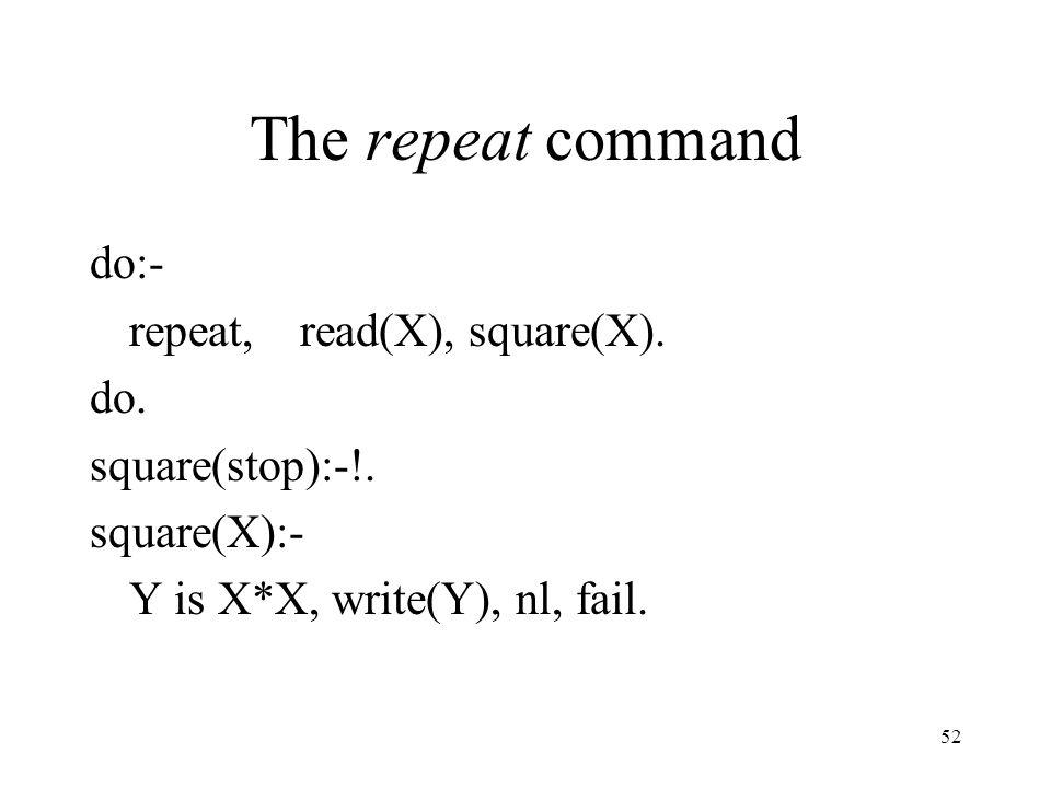 The repeat command do:- repeat, read(X), square(X).