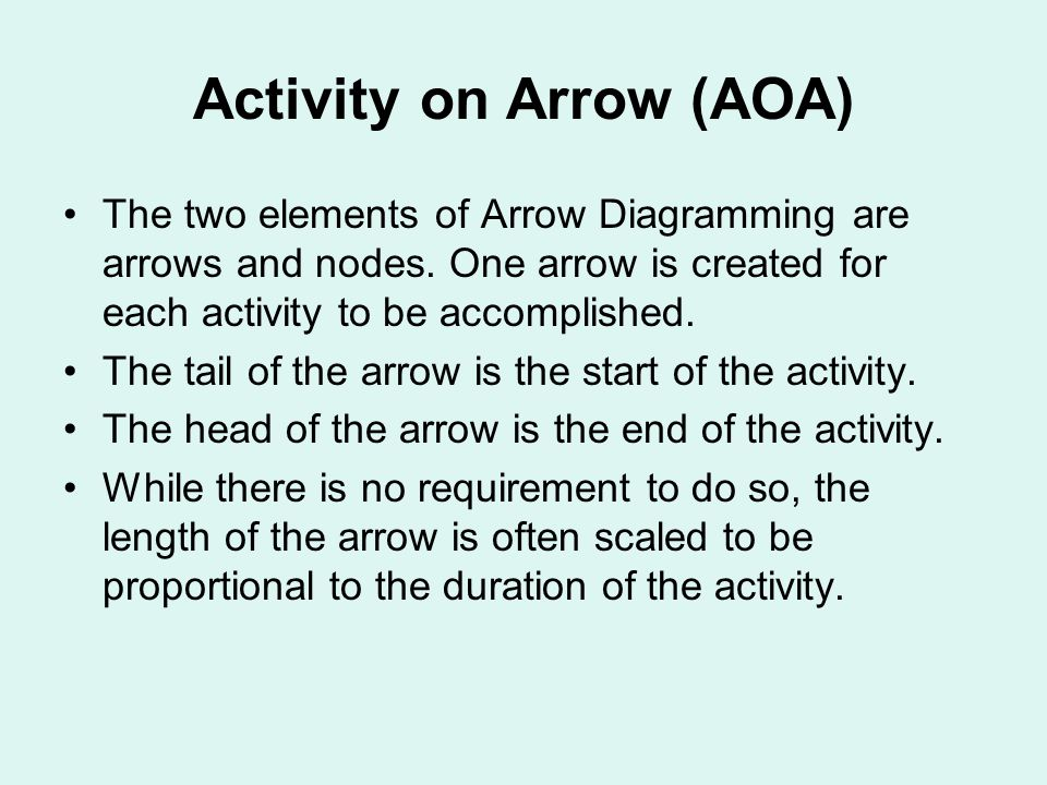 Activity on Arrow (AOA) The two elements of Arrow Diagramming are arrows and nodes.