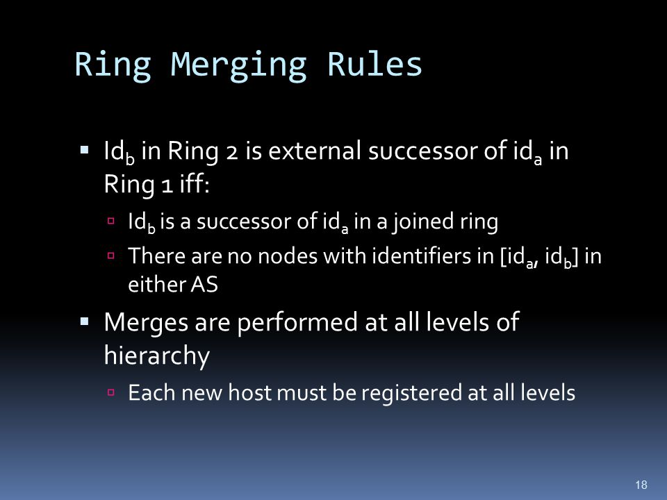 18 Ring Merging Rules  Id b in Ring 2 is external successor of id a in Ring 1 iff:  Id b is a successor of id a in a joined ring  There are no nodes with identifiers in [id a, id b ] in either AS  Merges are performed at all levels of hierarchy  Each new host must be registered at all levels