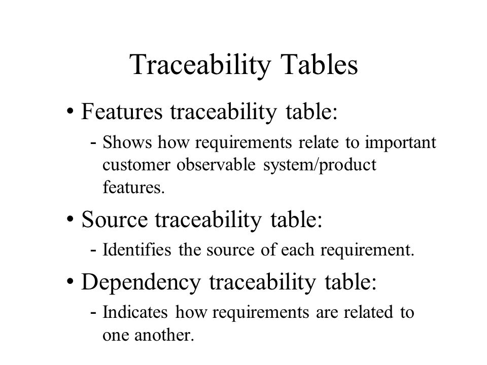 Traceability Tables Features traceability table: -Shows how requirements relate to important customer observable system/product features. Source trace