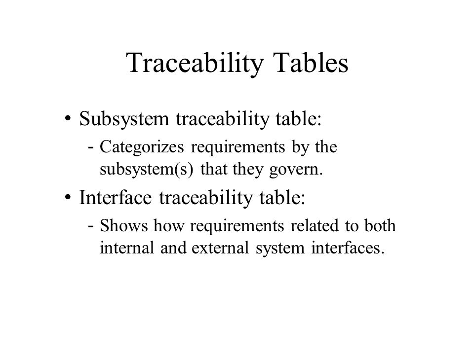Traceability Tables Subsystem traceability table: -Categorizes requirements by the subsystem(s) that they govern. Interface traceability table: -Shows