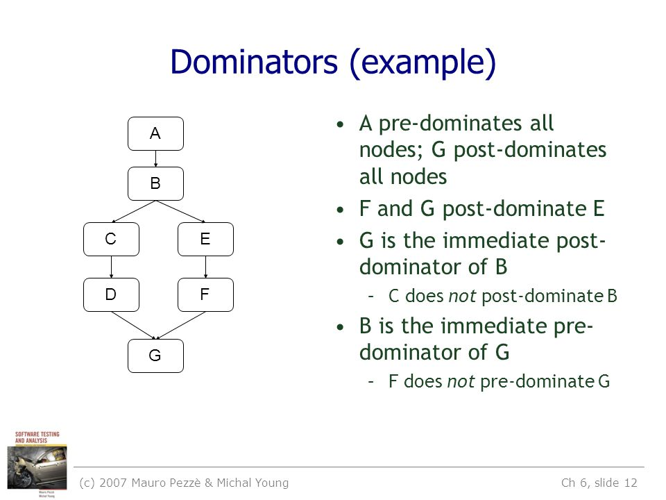 (c) 2007 Mauro Pezzè & Michal Young Ch 6, slide 12 Dominators (example) A B C D E F G A pre-dominates all nodes; G post-dominates all nodes F and G post-dominate E G is the immediate post- dominator of B –C does not post-dominate B B is the immediate pre- dominator of G –F does not pre-dominate G
