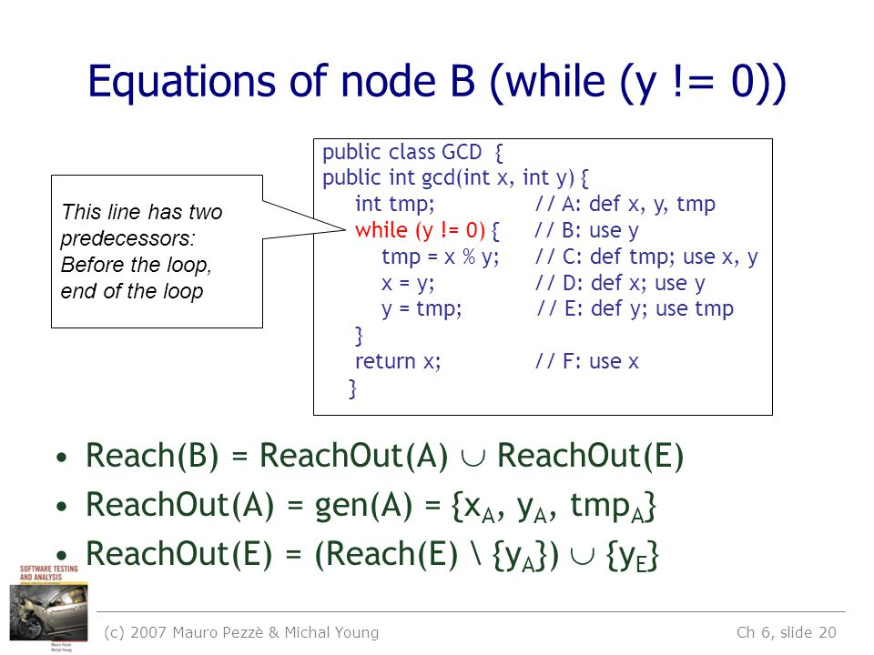 (c) 2007 Mauro Pezzè & Michal Young Ch 6, slide 20 Equations of node B (while (y != 0)) Reach(B) = ReachOut(A)  ReachOut(E) ReachOut(A) = gen(A) = {x A, y A, tmp A } ReachOut(E) = (Reach(E) \ {y A })  {y E } public class GCD { public int gcd(int x, int y) { int tmp; // A: def x, y, tmp while (y != 0) { // B: use y tmp = x % y; // C: def tmp; use x, y x = y; // D: def x; use y y = tmp; // E: def y; use tmp } return x; // F: use x } This line has two predecessors: Before the loop, end of the loop