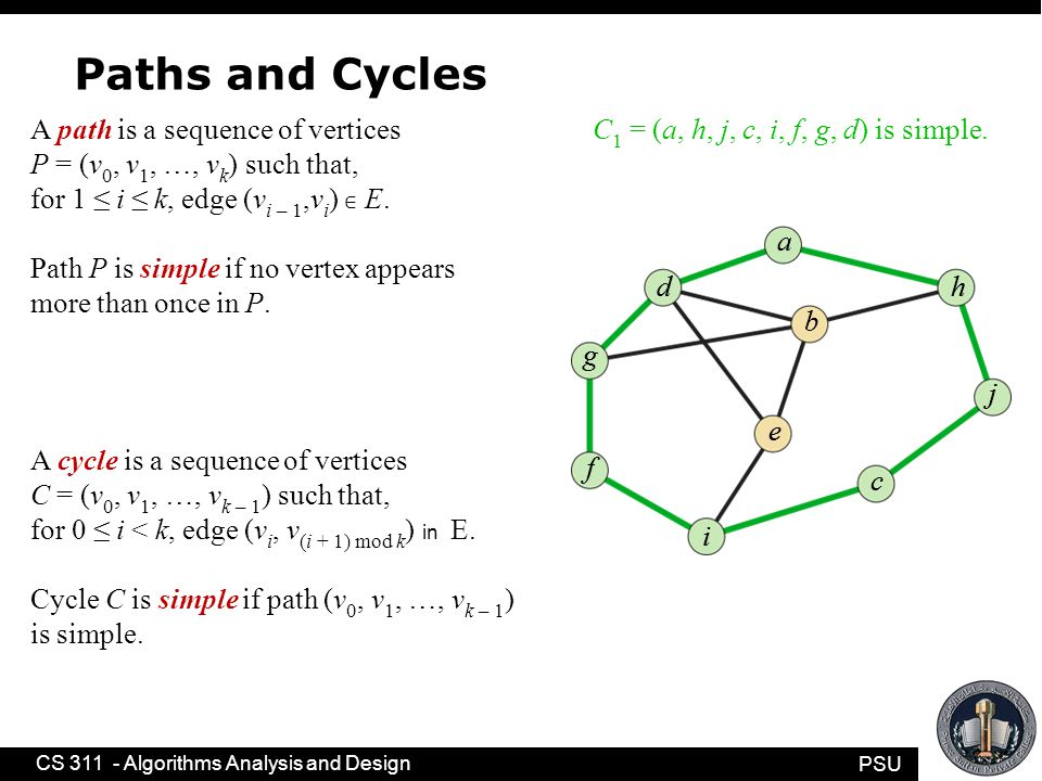 PSU CS 311 - Algorithms Analysis and Design Paths and Cycles A path is a sequence of vertices P = (v 0, v 1, …, v k ) such that, for 1 ≤ i ≤ k, edge (v i – 1,v i ) ∈ E.