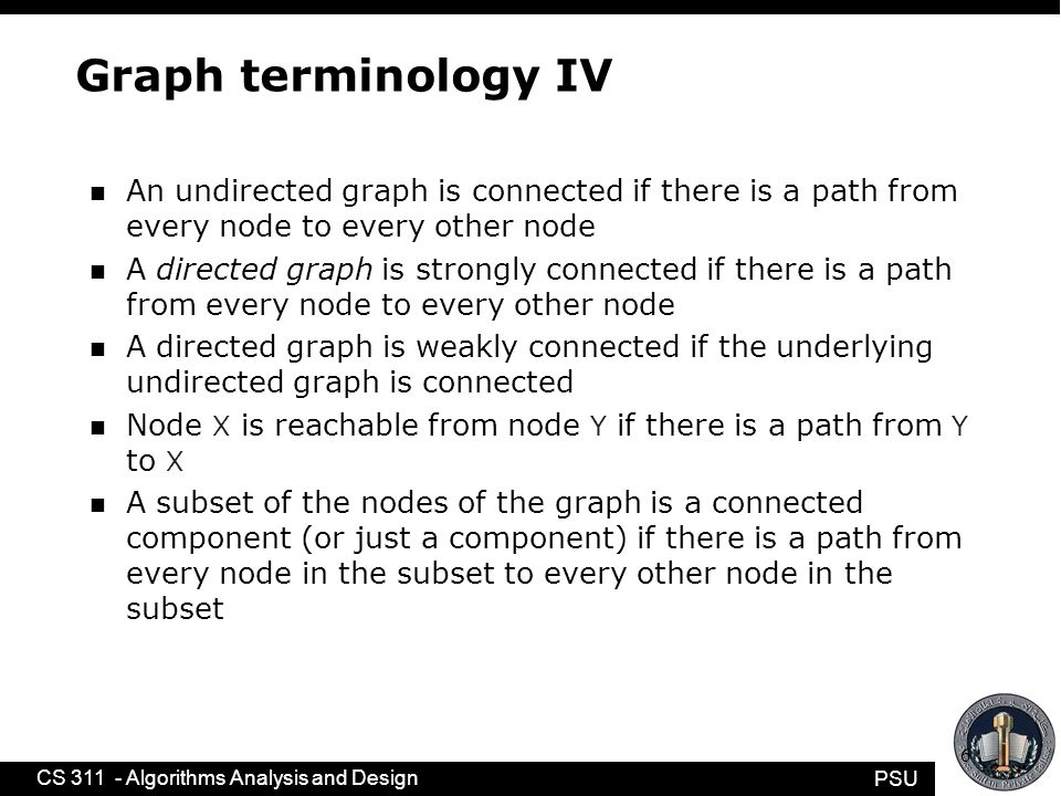 PSU CS 311 - Algorithms Analysis and Design 6 Graph terminology IV n An undirected graph is connected if there is a path from every node to every other node n A directed graph is strongly connected if there is a path from every node to every other node n A directed graph is weakly connected if the underlying undirected graph is connected n Node X is reachable from node Y if there is a path from Y to X n A subset of the nodes of the graph is a connected component (or just a component) if there is a path from every node in the subset to every other node in the subset