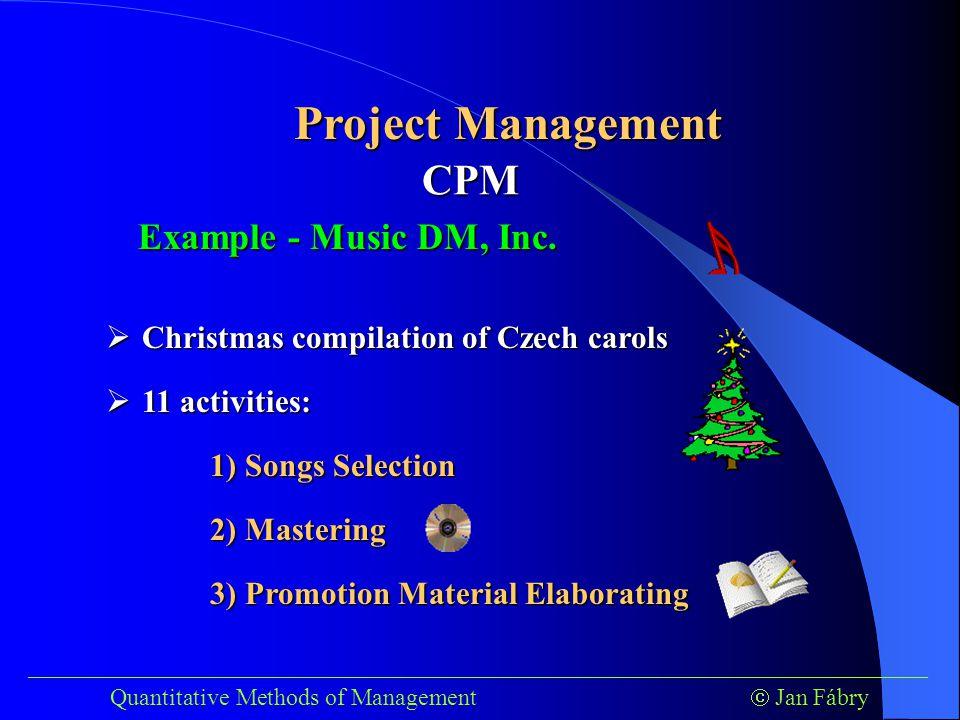 ___________________________________________________________________________ Quantitative Methods of Management  Jan Fábry Project Management Example - Music DM, Inc.