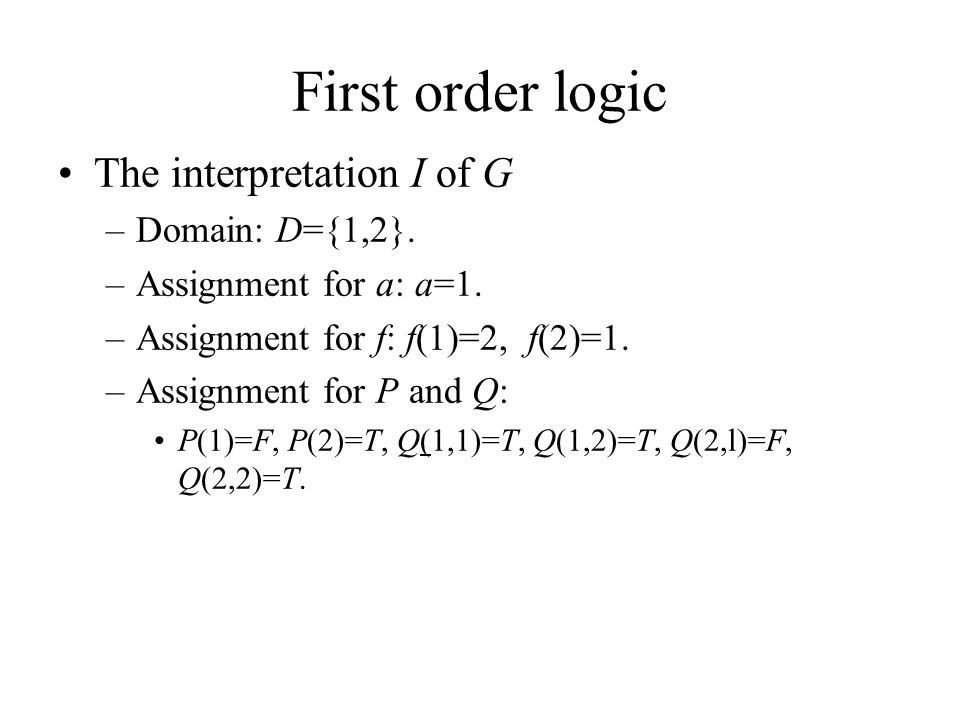 First order logic The interpretation I of G –Domain: D={1,2}.