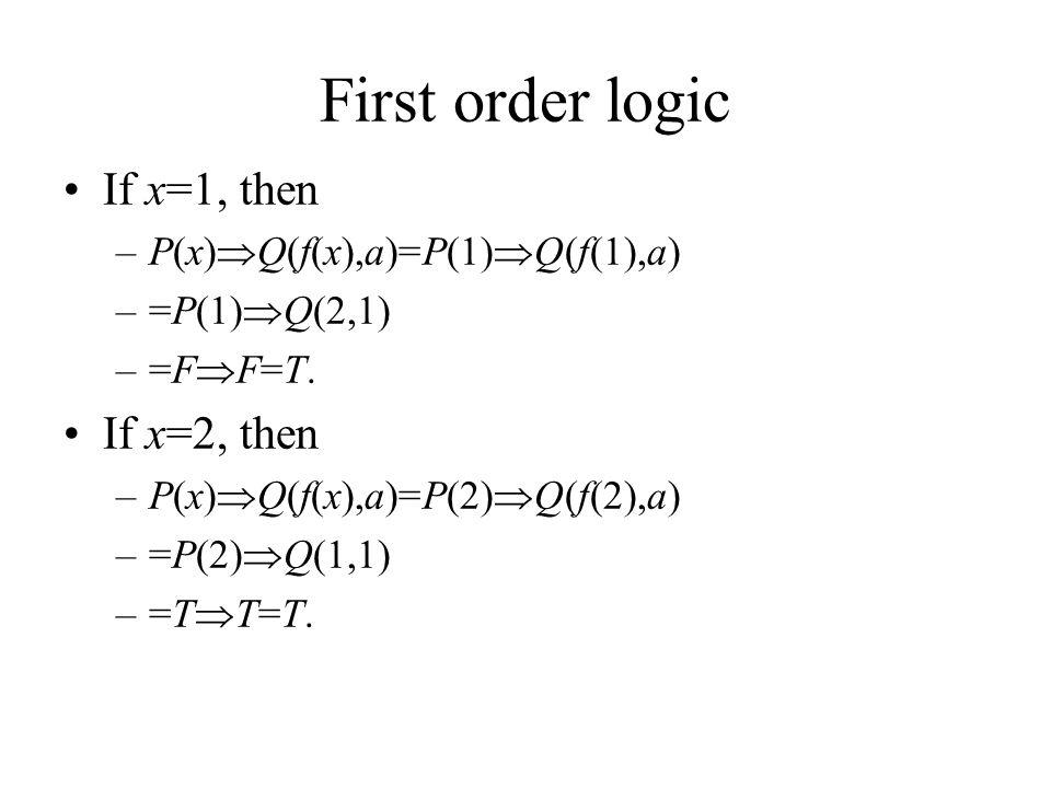 First order logic If x=1, then –P(x)  Q(f(x),a)=P(1)  Q(f(1),a) –=P(1)  Q(2,1) –=F  F=T.