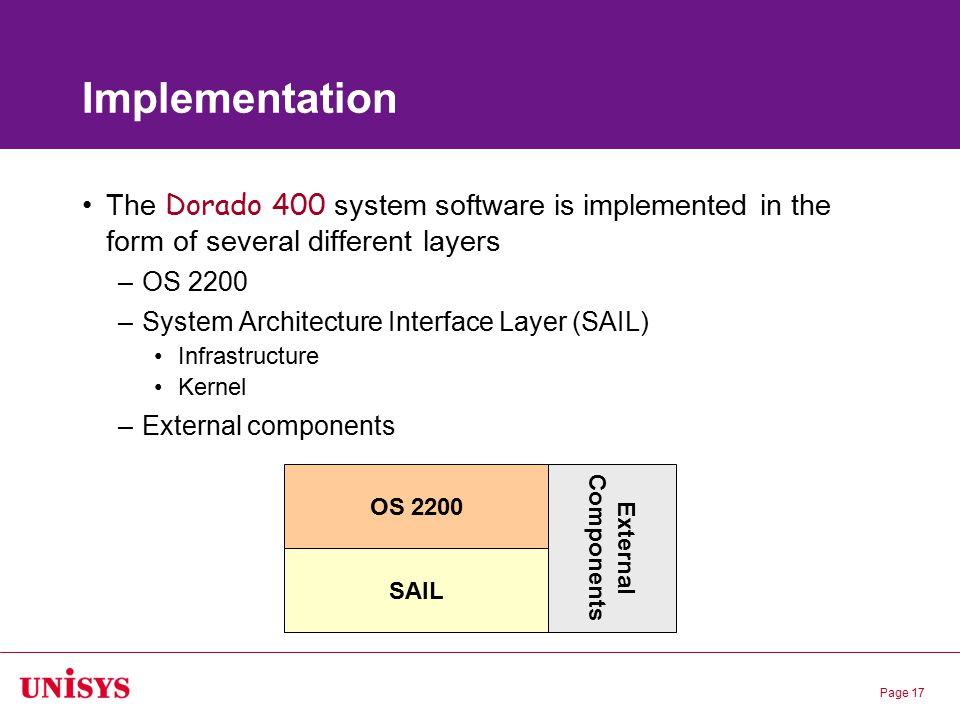 Page 17 Implementation The Dorado 400 system software is implemented in the form of several different layers –OS 2200 –System Architecture Interface L