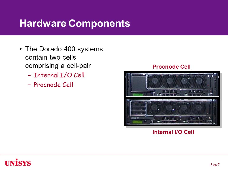 Page 7 Hardware Components The Dorado 400 systems contain two cells comprising a cell-pair –Internal I/O Cell –Procnode Cell Internal I/O Cell Procnod