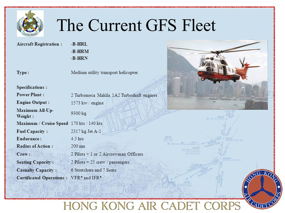 The Current GFS Fleet Aircraft Registration :-B-HRL -B-HRM -B-HRN Type :Medium utility transport helicopter.