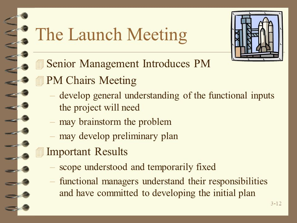 3-12 The Launch Meeting 4 Senior Management Introduces PM 4 PM Chairs Meeting –develop general understanding of the functional inputs the project will