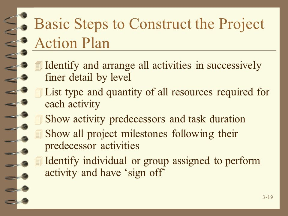 3-19 Basic Steps to Construct the Project Action Plan 4 Identify and arrange all activities in successively finer detail by level 4 List type and quan