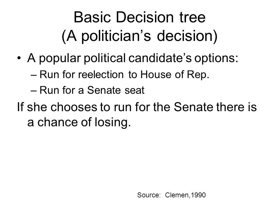 Basic Decision tree (A politician's decision) A popular political candidate's options: –Run for reelection to House of Rep. –Run for a Senate seat If