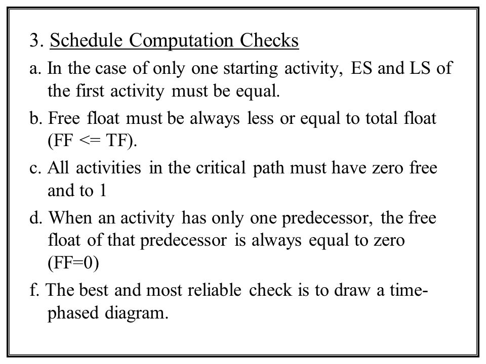 3.Schedule Computation Checks a.