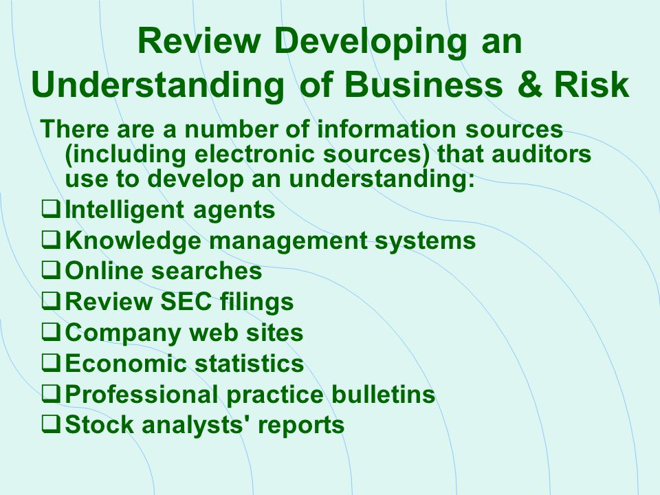 Review Developing an Understanding of Business & Risk There are a number of information sources (including electronic sources) that auditors use to de