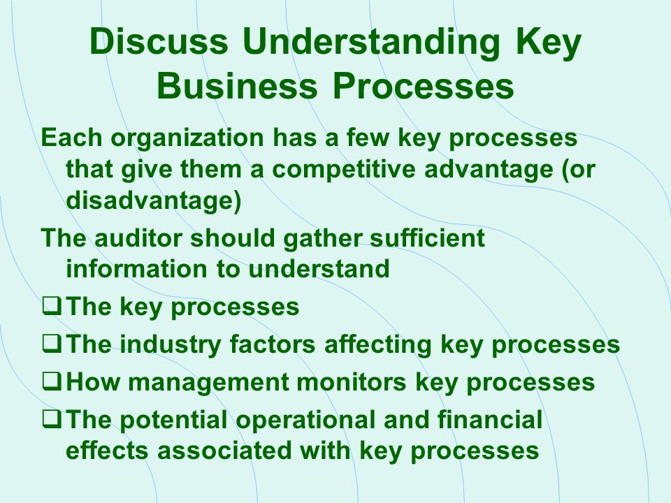 Discuss Understanding Key Business Processes Each organization has a few key processes that give them a competitive advantage (or disadvantage) The au
