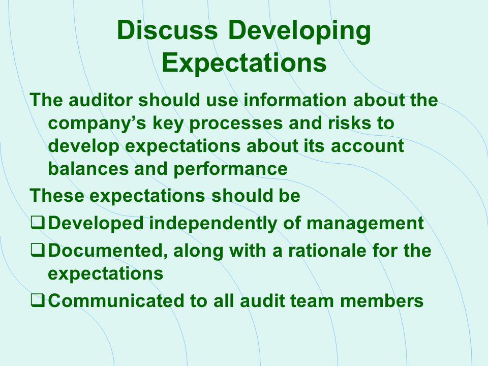 Discuss Developing Expectations The auditor should use information about the company's key processes and risks to develop expectations about its accou