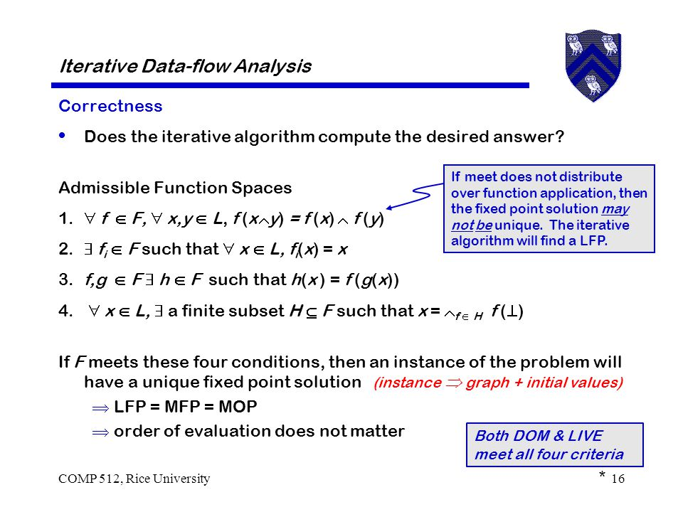 COMP 512, Rice University16 Iterative Data-flow Analysis Correctness Does the iterative algorithm compute the desired answer.