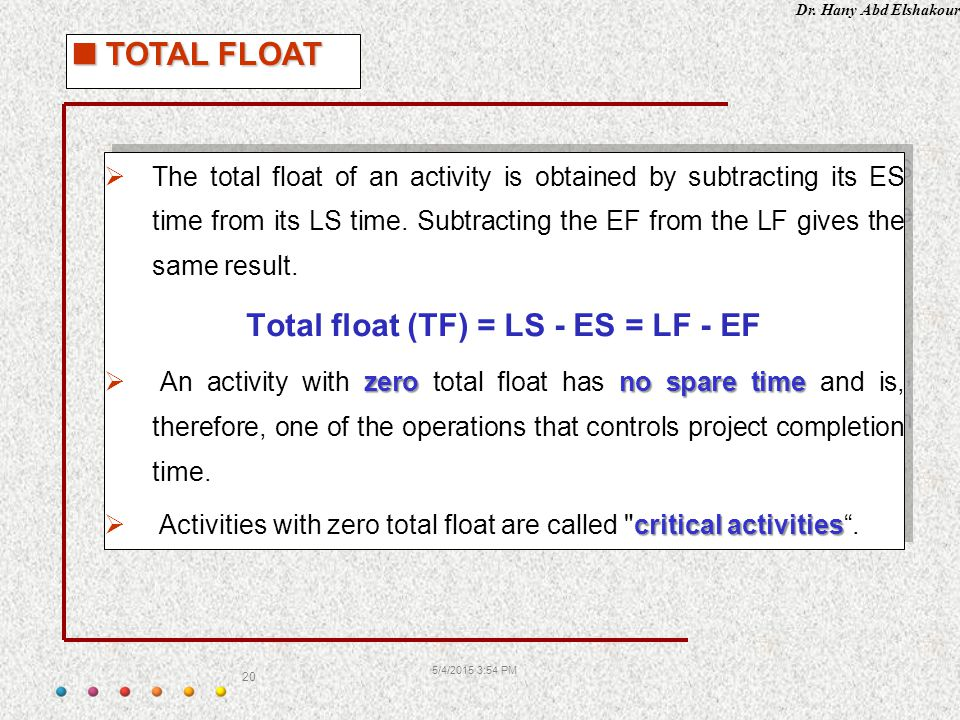Dr. Hany Abd Elshakour 5/4/2015 3:55 PM 20  The total float of an activity is obtained by subtracting its ES time from its LS time. Subtracting the E