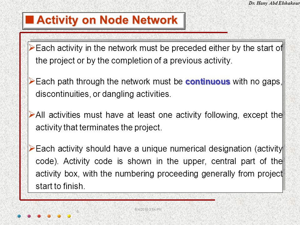 Dr. Hany Abd Elshakour 5/4/2015 3:55 PM 6  Each activity in the network must be preceded either by the start of the project or by the completion of a