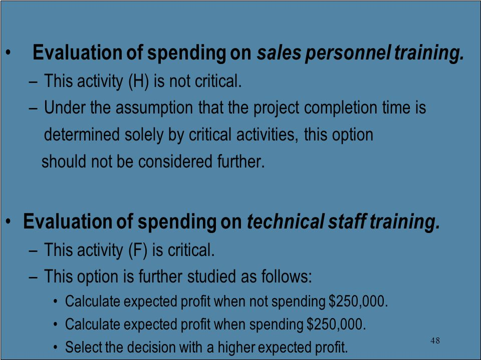 48 Evaluation of spending on sales personnel training.