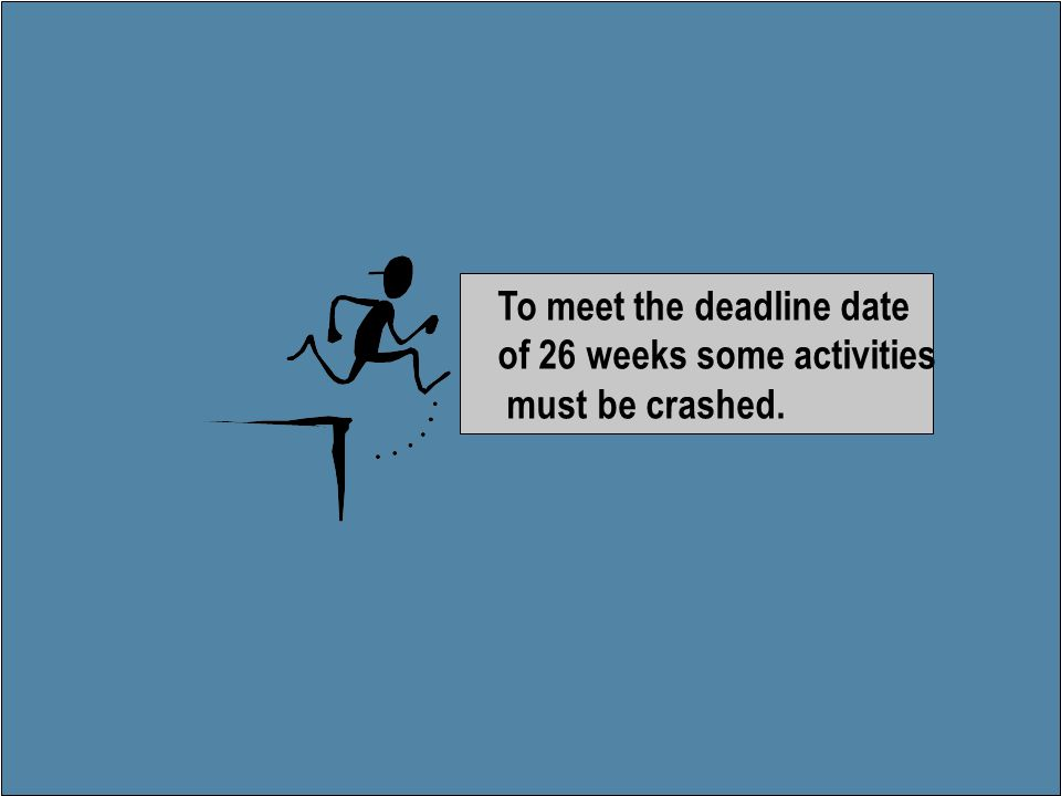 To meet the deadline date of 26 weeks some activities must be crashed.