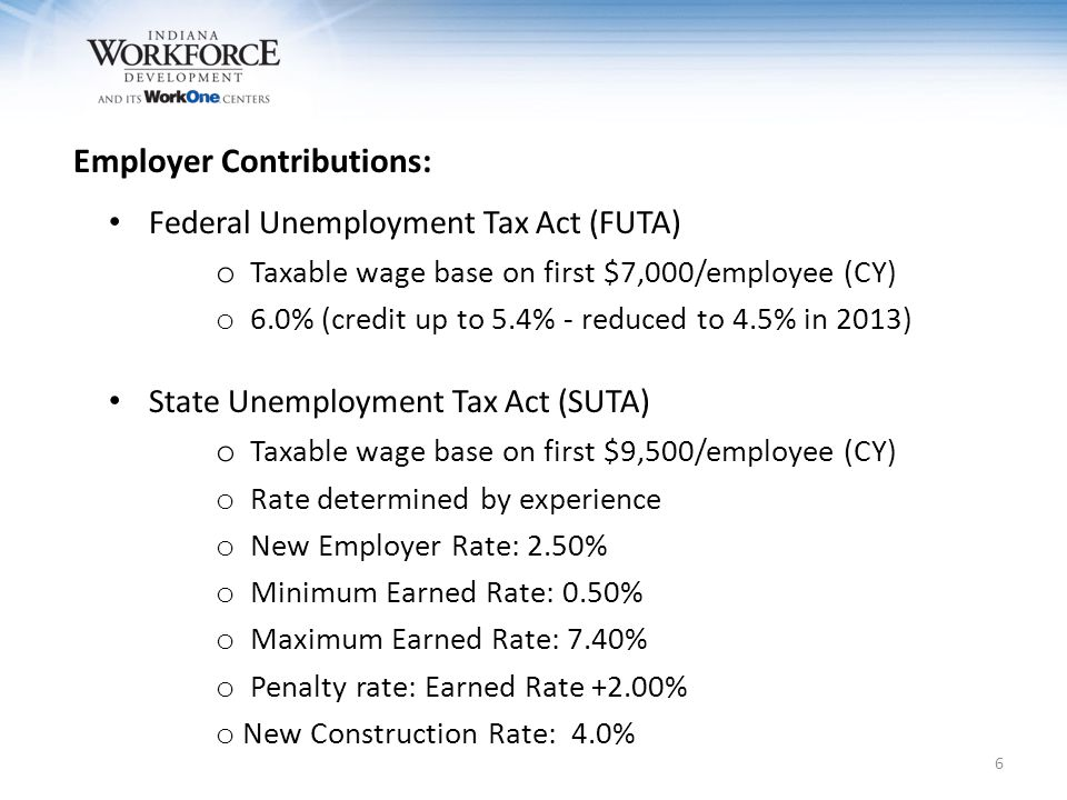 6 Federal Unemployment Tax Act (FUTA) o Taxable wage base on first $7,000/employee (CY) o 6.0% (credit up to 5.4% - reduced to 4.5% in 2013) State Unemployment Tax Act (SUTA) o Taxable wage base on first $9,500/employee (CY) o Rate determined by experience o New Employer Rate: 2.50% o Minimum Earned Rate: 0.50% o Maximum Earned Rate: 7.40% o Penalty rate: Earned Rate +2.00% o New Construction Rate: 4.0% Employer Contributions: