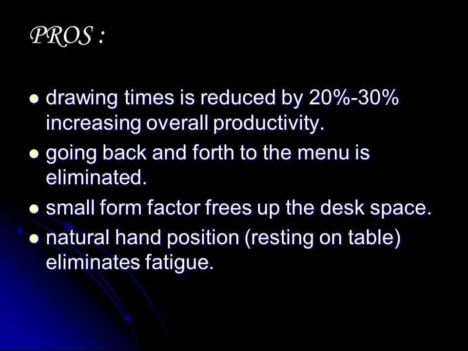 drawing times is reduced by 20%-30% increasing overall productivity. drawing times is reduced by 20%-30% increasing overall productivity. going back a