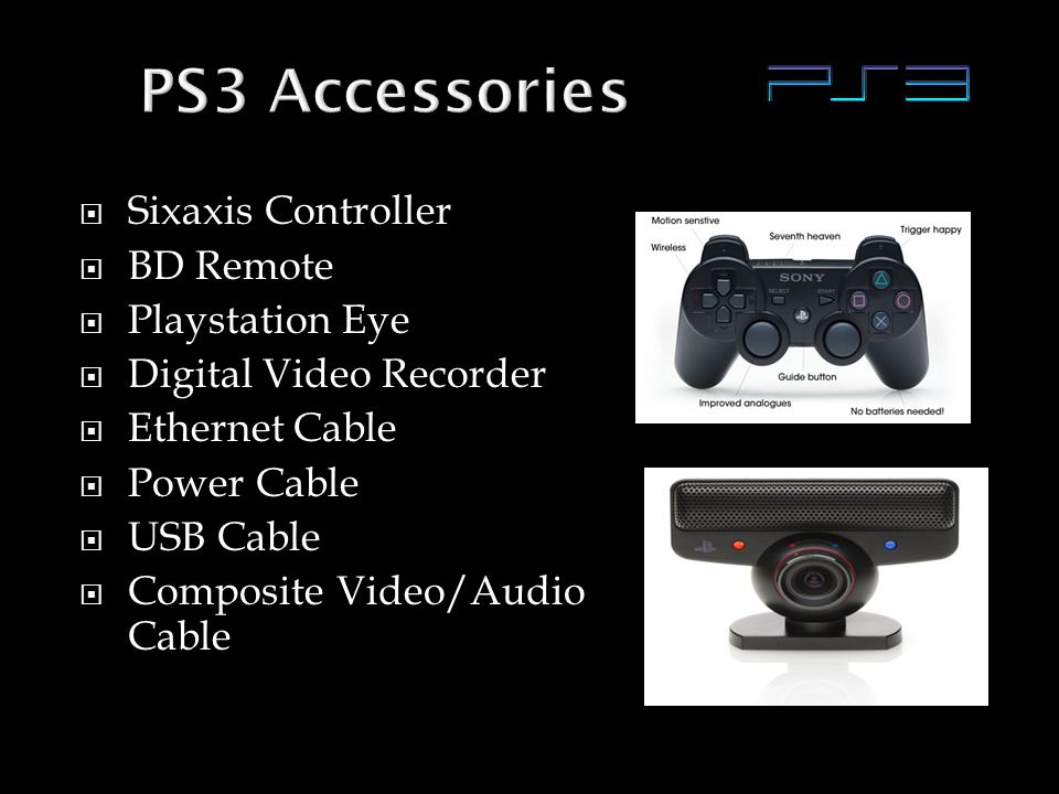  Sixaxis Controller  BD Remote  Playstation Eye  Digital Video Recorder  Ethernet Cable  Power Cable  USB Cable  Composite Video/Audio Cable