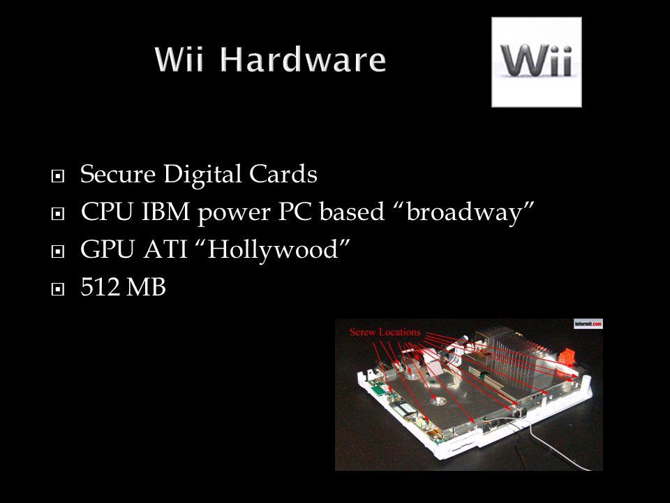 " Secure Digital Cards  CPU IBM power PC based ""broadway""  GPU ATI ""Hollywood""  512 MB"