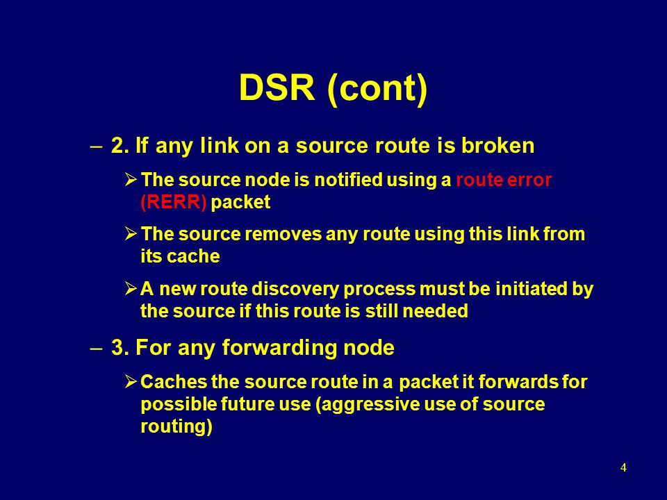 15 Simulation Model (cont) AODV and DSR –RREQ packets are treated as broadcast packets in the MAC –RREP and data packets are all unicast packets with a specified neighbor as the MAC destination –RERR packets  Are broadcast in AODV  Use unicast transmissions in DSR –Send buffer: 64 packets  Contains all data packets waiting for a route, but no reply has arrived yet  Packets are dropped if they wait in the send buffer for more than 30s