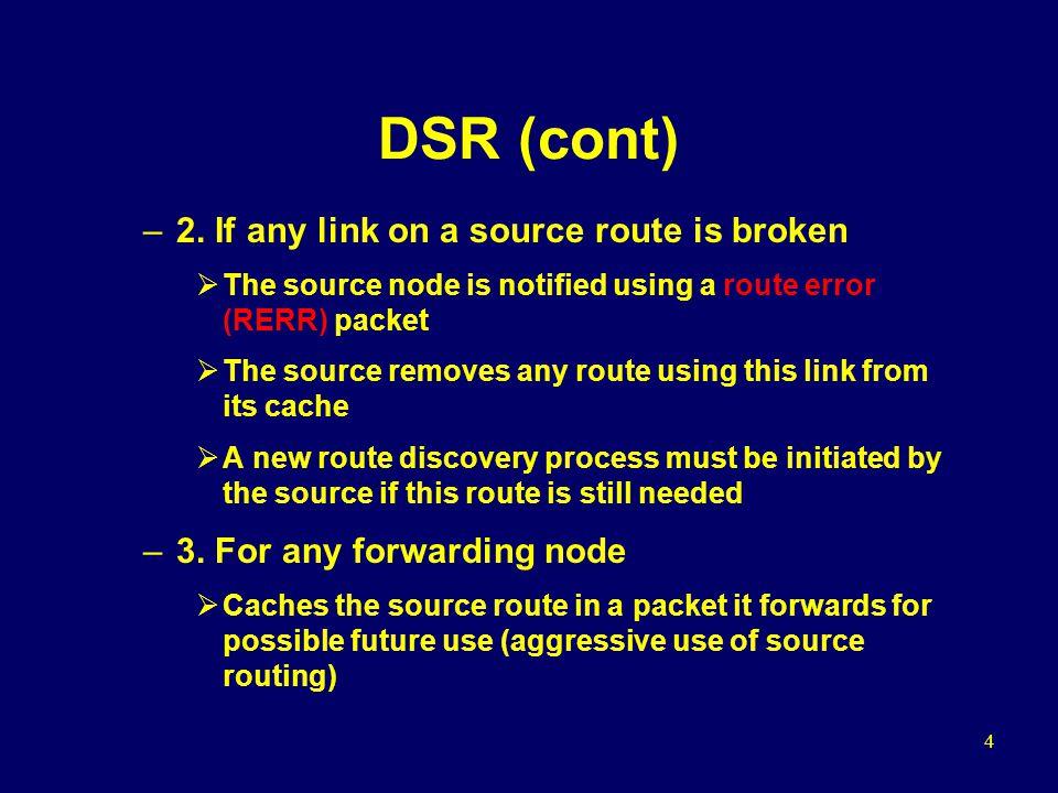 5 DSR (cont) Optimizations –1.