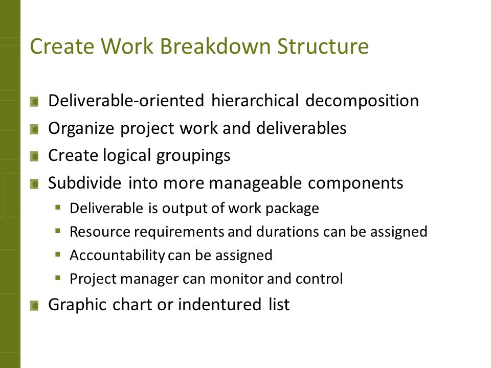 Create Work Breakdown Structure Deliverable-oriented hierarchical decomposition Organize project work and deliverables Create logical groupings Subdiv