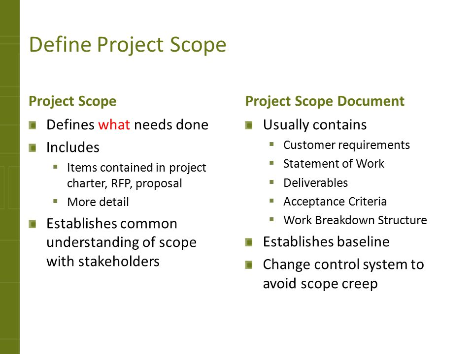 Define Project Scope Project Scope Defines what needs done Includes  Items contained in project charter, RFP, proposal  More detail Establishes comm