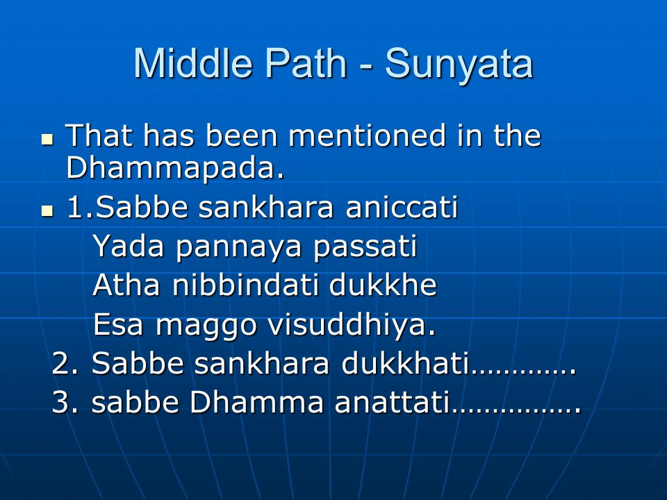 Middle Path - Sunyata That has been mentioned in the Dhammapada. That has been mentioned in the Dhammapada. 1.Sabbe sankhara aniccati 1.Sabbe sankhara