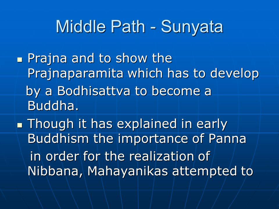 Middle Path - Sunyata Prajna and to show the Prajnaparamita which has to develop Prajna and to show the Prajnaparamita which has to develop by a Bodhisattva to become a Buddha.